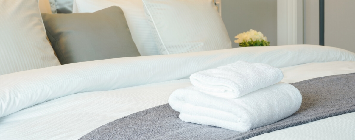 A completed hotel bedroom managed by Beacon Bay
