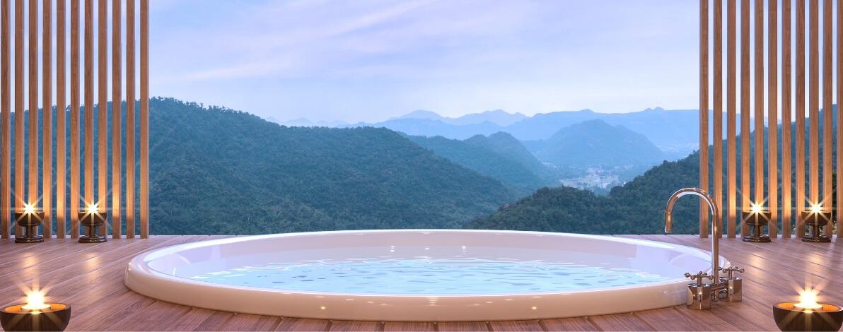 A hotel spa tub